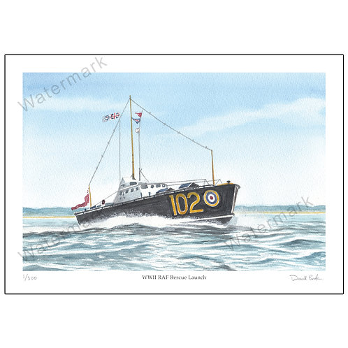 WWII RAF Rescue Launch - Limited Edition,  Print A4 or A3