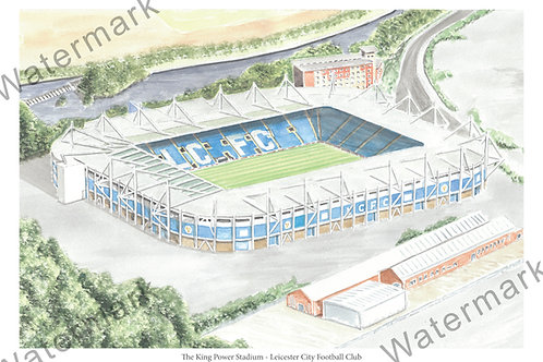 Leicester City - The King Power Stadium, Limited Edition Print A4 / A3