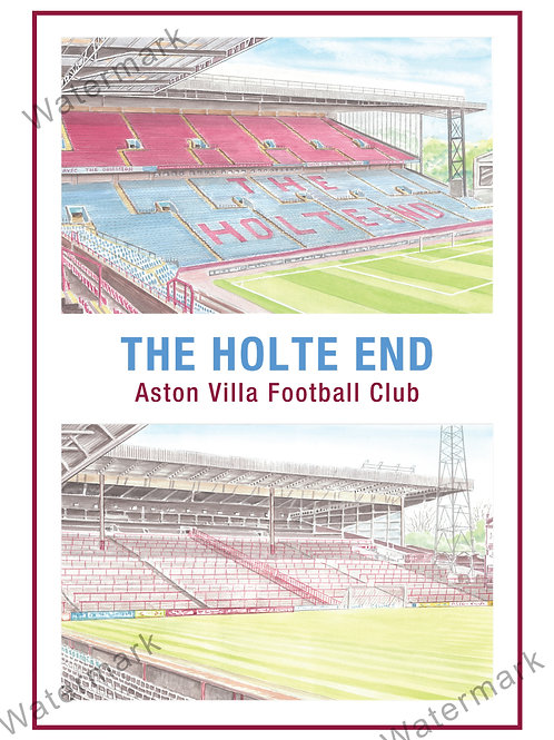 Aston Villa - The Holte End two view, Print A4 or A3