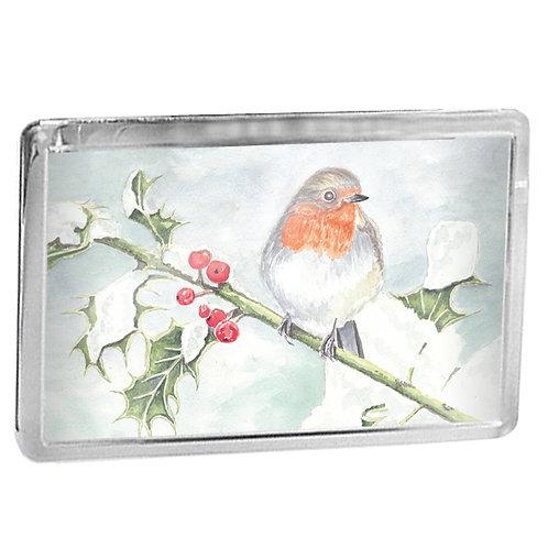 Robin On A Holly Branch - Fridge Magnet