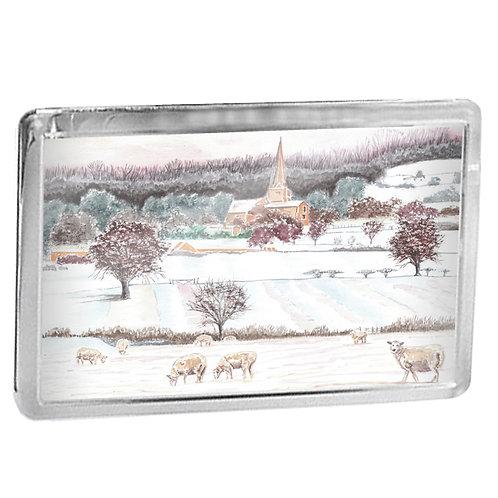 Cotswold Snow - Sheep In Cotswold Landscape - Fridge Magnet