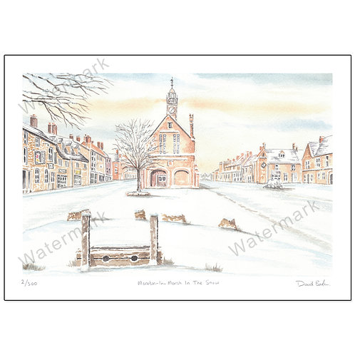 Moreton-In-Marsh In The Snow - Limited Edition,  Print A4 or A3