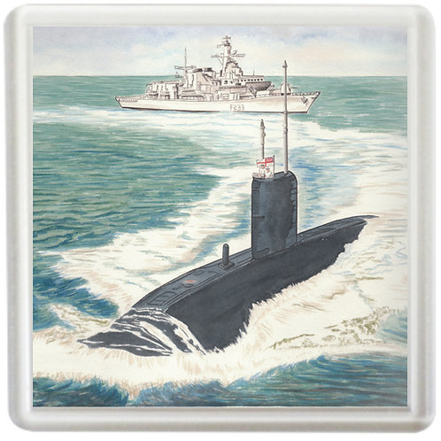 HMS Marlborough and Submarine - Coaster