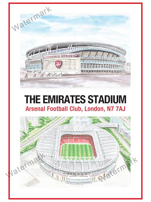 Arsenal - Emirates Stadium 2 Views, Limited Edition Print A4 / A3