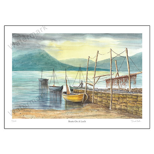 Boats On A Loch, Limited Edition Print A4 or A3