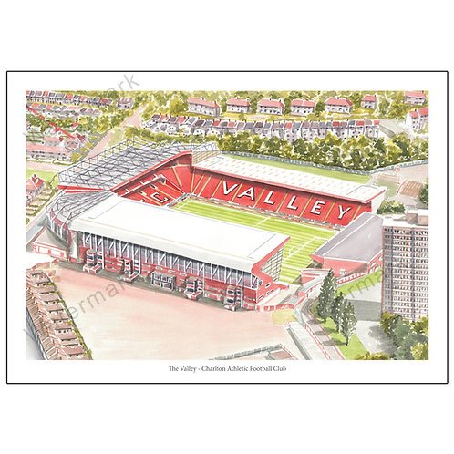 Charlton Athletic FC - The Valley, Limited Edition Print A4 / A3