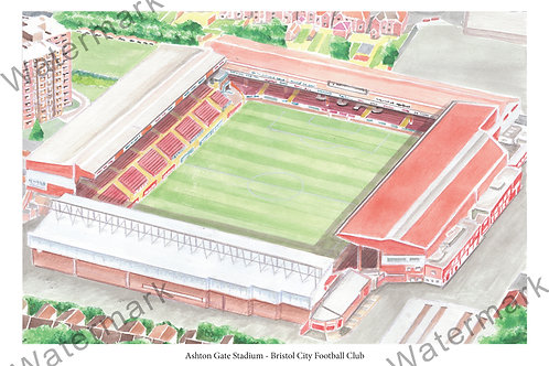 Bristol City FC - Ashton Gate Stadium Bygone, Print A4 or A3