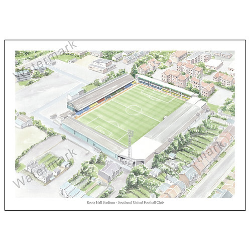 Southend United FC, Roots Hall Stadium Aerial View, Print A4 or A3