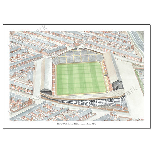 Sunderland AFC - Roker Park In The 1930s, Print A4 or A3