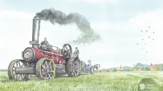 Traction Engine Working The Farm