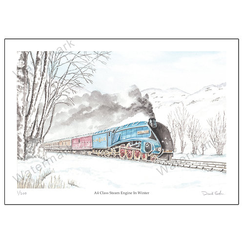 A4 Class Steam Engine In Winter - Limited Edition,  Print A4 or A3