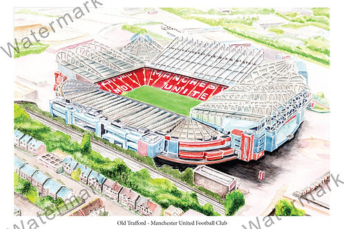 Manchester United - Old Trafford, Limited Edition Print A4 / A3