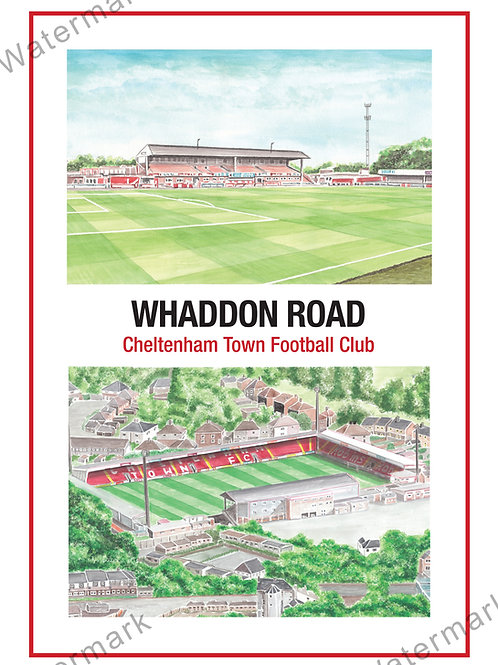 Cheltenham Town FC - Two View , Print A4 or A3