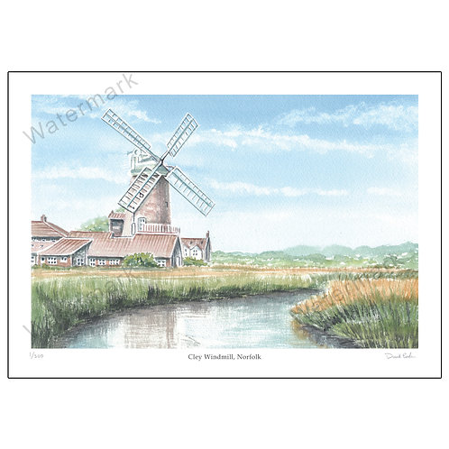 Cley Windmill, Norfolk, Limited Edition Print A4 or A3
