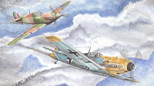 Hurricane and Messerschmitt Bf 109 Dogfight