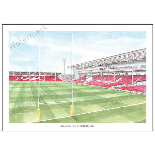 Gloucester Rugby, Kingsholm Behind The Posts Poster Print A4 / A3