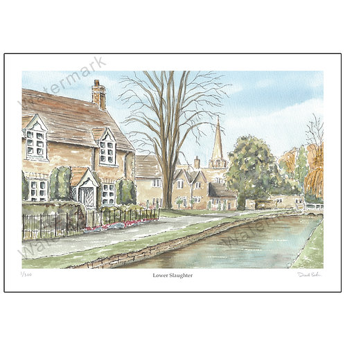Lower Slaughter, Pen and Wash, Limited Edition Print A4 or A3