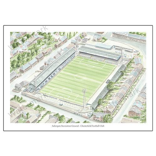 Chesterfield Football Club - Saltergate Recreation Ground, Print A4/A3