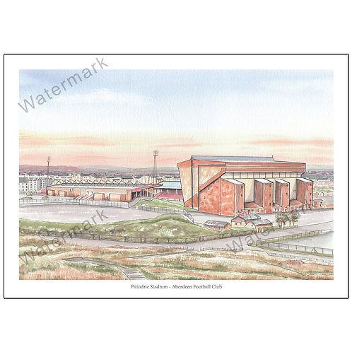 Aberdeen FC - Pittodrie Stadium Pen and Wash, Print A4 / A3