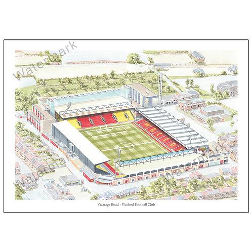 Watford Football Club - Vicarage Road, Limited Edition Print A4 / A3