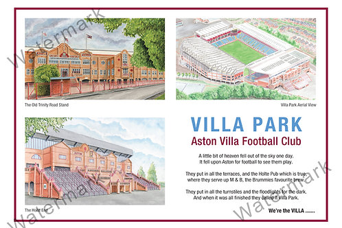 Aston Villa - Villa Park and Poem, Print A4 or A3
