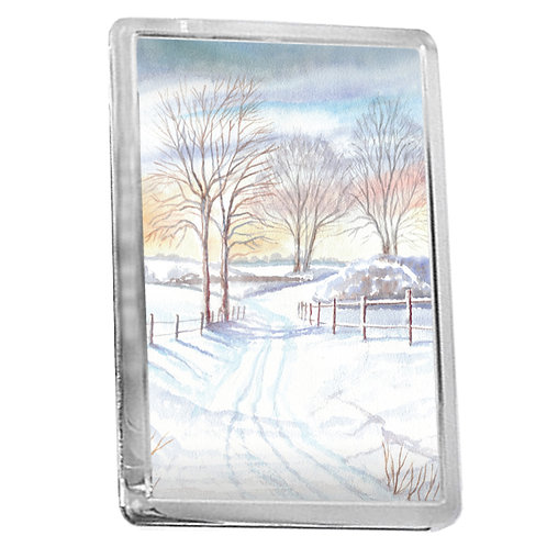 Simple Snow Scene Study 2 - Fridge Magnet