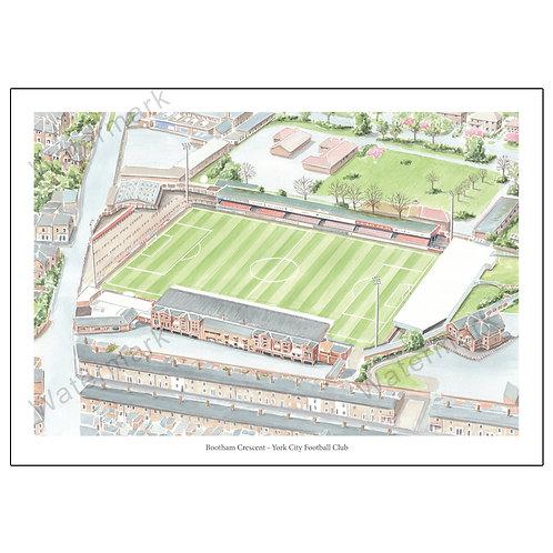 York City FC - Bootham Crescent,  Print A4/A3