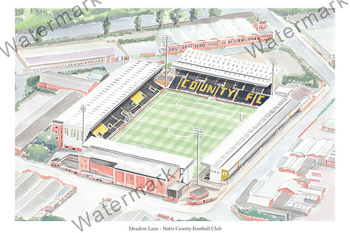 Notts County FC - Meadow Lane, Limited Edition Print A4 / A3