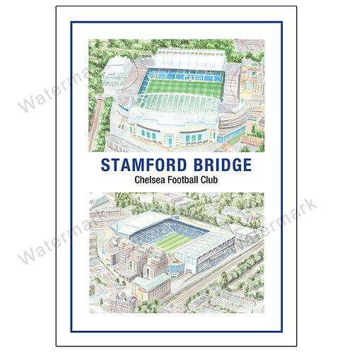 Chelsea Football Club - Stamford Bridge Two Views, Print A4 / A3