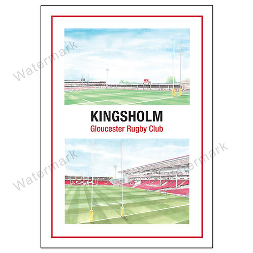 Gloucester Rugby, Kingsholm 2 View Poster Print A4 / A3