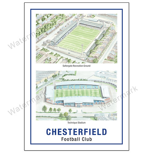 Chesterfield Football Club - Stadiums, Limited Edition Print A4 / A3