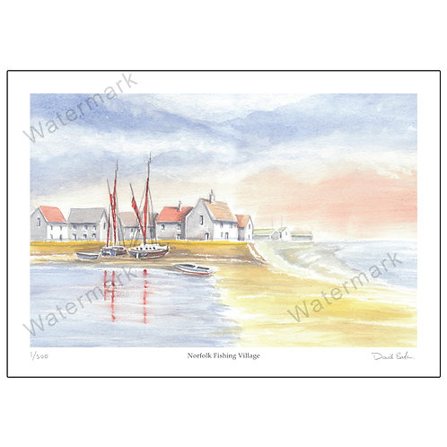 Norfolk Fishing Village, Print A4 or A3