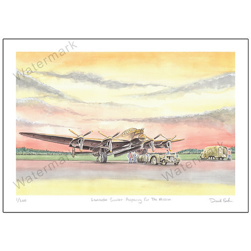 Lancaster Bomber Preparing For The Mission,  Print A4 or A3