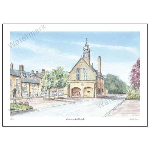 Moreton-in-Marsh, Pen and Watercolour Print A4 or A3