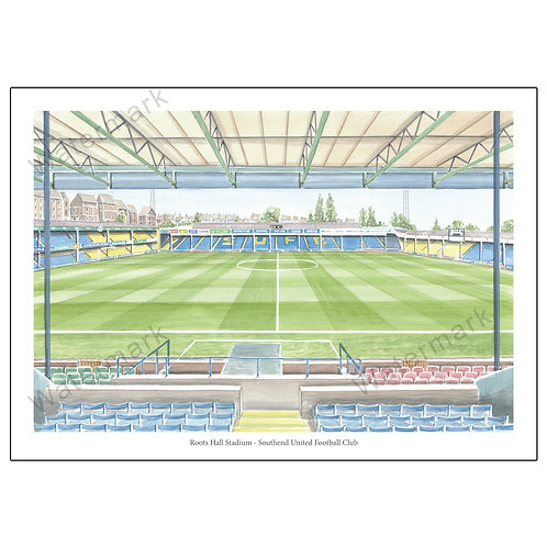 Southend United FC, Inside Roots Hall Stadium, Print A4 or A3
