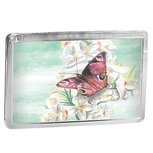 Peacock Butterfly On Blossom - Fridge Magnet