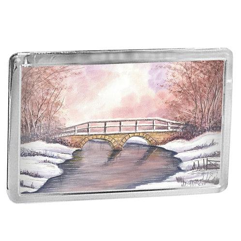 Wintry Bridge - Fridge Magnet