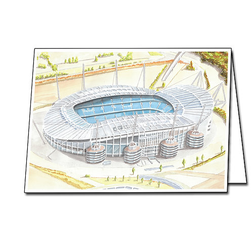 Manchester City - The Etihad Stadium - Greetings Card Landscape, A5/A6
