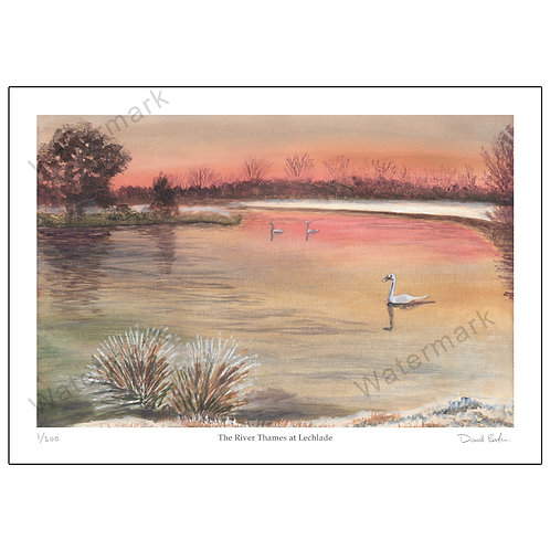 The River Thames at Lechlade, Limited Edition Print A4 or A3