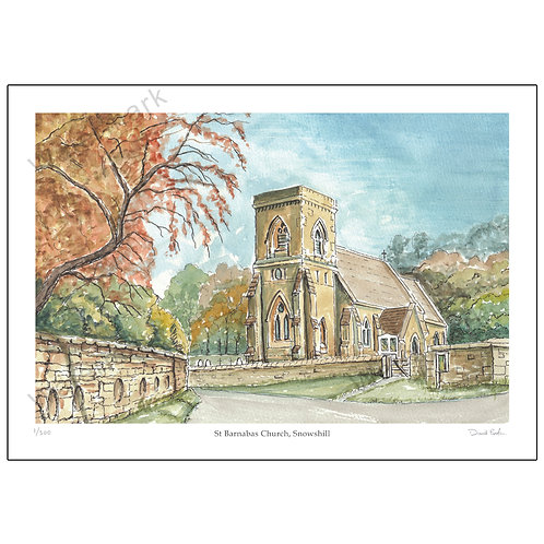 St Barnabas Church, Snowshill, Limited Edition Print A4 or A3