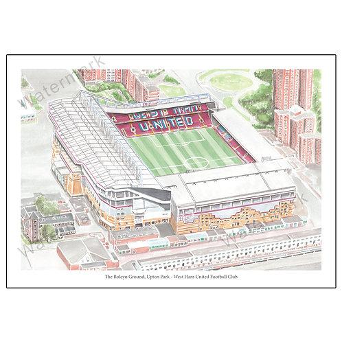 West Ham United - Upton Park (Boleyn Ground), Limited Edition Print A4 / A3