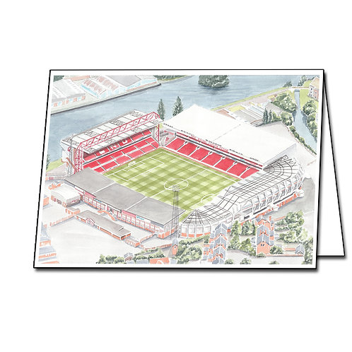 Nottingham Forest - City Ground - Greetings Card Landscape, A5/A6