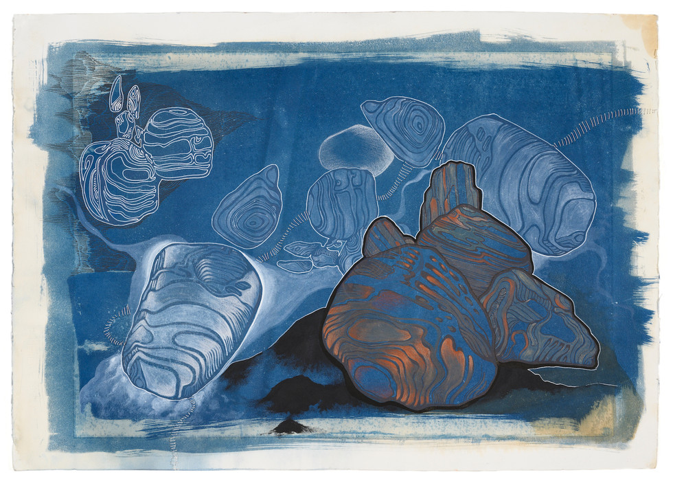 cyanotype, screenprint, ink and linen thread on fabriano paper 70 x 50 cm