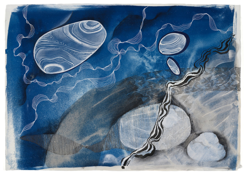 Cyanotype, ink and charcoal of Fabriano Paper 70 x50cm