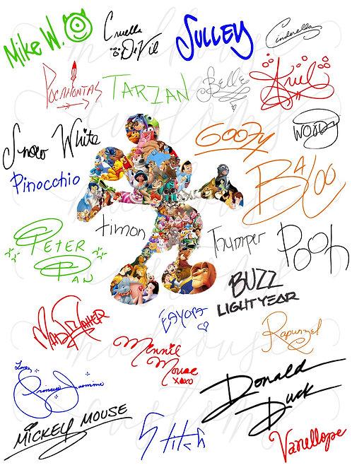 Disney Colorful Autograph Fan Sheet-Digital File