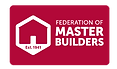 Federation of Master builders,home and dry,red,logo,white text,