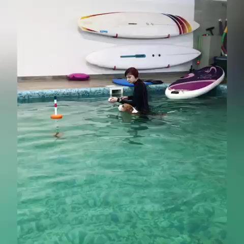 Наша Роза 'Irinstyle English Rose' занимается в бассейне