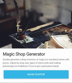 Magic Shop Generator