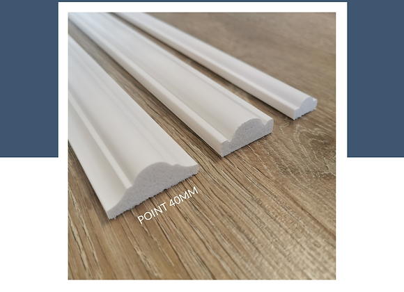Wainscoting DIY 100% Waterproof - Point 16mm/30mm/40mm (8ft Long) - Solid White