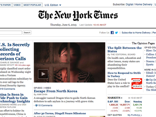 The Defector Op Doc on the Front Page of the New York Times!
